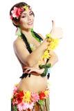 Menina com polegares havaianos acima Fotografia de Stock Royalty Free