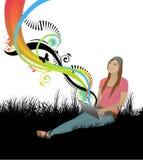 Menina com portátil ilustração royalty free