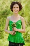 Menina com posy ao ar livre Imagem de Stock Royalty Free