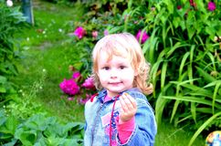 Menina com pouca morango fotografia de stock