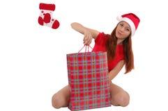 Menina com presente fotografia de stock