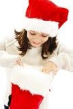 Menina com presente do Natal imagens de stock