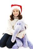 Menina com presente do Natal fotografia de stock