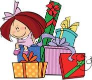 Menina com presentes Fotos de Stock