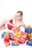 Menina com presentes Imagens de Stock Royalty Free