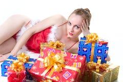 Menina com presentes Imagem de Stock Royalty Free