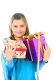 A menina com presentes Imagem de Stock