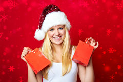 Menina com presentes de Natal Imagem de Stock