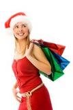 Menina com presentes de Natal Fotografia de Stock Royalty Free