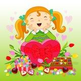 Menina com presentes Feliz aniversario ilustração stock