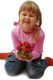 Menina com radish Imagens de Stock Royalty Free