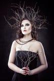 Menina com ramos na cabeça. Imagens de Stock