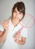 Menina com raquete de badminton Foto de Stock