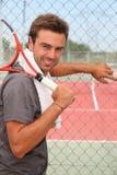 Menina com raquete de tênis fotos de stock