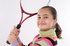 Menina com a raquete do tênis fotografia de stock