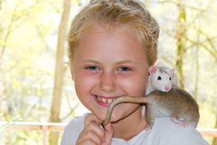 Menina com rato do animal de estimação Foto de Stock Royalty Free