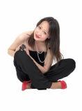 Menina com rato do animal de estimação Imagens de Stock