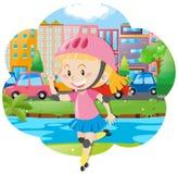 Menina com rollerskate e capacete Foto de Stock