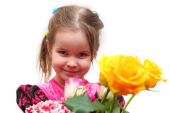 Menina com rosas Fotos de Stock