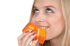 Menina com sabão Imagens de Stock