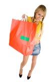menina com saco de compra fotografia de stock royalty free