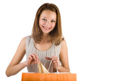 Menina com saco de compra imagem de stock royalty free