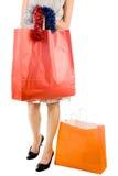 Menina com saco de compra imagem de stock