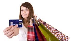Menina com saco e cartão de crédito. Fotos de Stock Royalty Free
