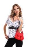 Menina com saco vermelho Imagem de Stock