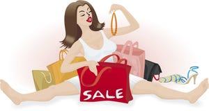 Menina com sacos Imagem de Stock