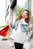 Menina com sacos de compra imagem de stock