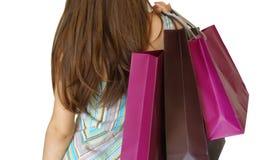 Menina com sacos de compra Foto de Stock Royalty Free