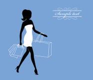 Menina com sacos de compra Fotos de Stock
