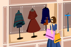 Menina com sacos de compra - sally Fotos de Stock