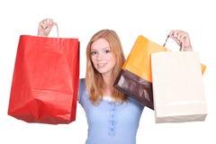 Menina com sacos de compra - sally foto de stock royalty free