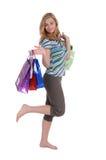 Menina com sacos de papel Foto de Stock Royalty Free