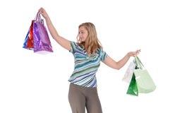 Menina com sacos de papel Imagem de Stock