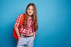 Menina com schoolbag Imagem de Stock Royalty Free