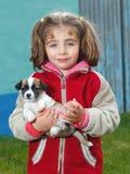 Menina com seu animal de estimação Imagem de Stock