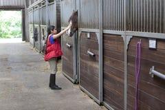 Menina com seu cavalo favorito fotos de stock