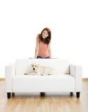 Menina com seu melhor amigo Foto de Stock