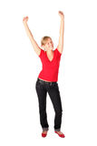 Menina com seus braços levantados Imagens de Stock