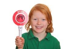 Menina com sinal do batente Foto de Stock