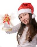 Menina com sino de Natal Imagens de Stock