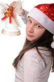 Menina com sino de Natal Imagem de Stock Royalty Free