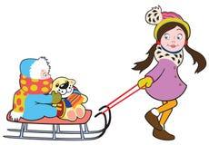 Menina com sledge Imagens de Stock