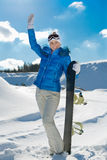 Menina com snowboard Fotografia de Stock Royalty Free