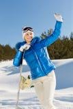 Menina com snowboard fotografia de stock