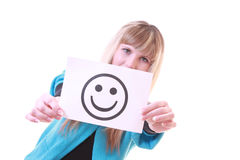 Menina com sorriso nas mãos Imagens de Stock