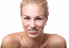 Menina com sorriso toothy Fotos de Stock